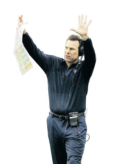 Houston Texans head coach Gary Kubiak waves his hands in the air during the fourth quarter of an NFL football game at Reliant Stadium, Sunday, Dec. 16, 2012, in Houston.   ( Karen Warren / Houston Chronicle ) Photo: Karen Warren, Staff / Houston Chronicle