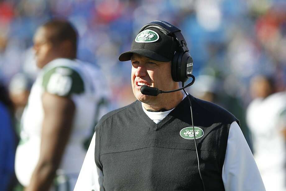 New York Jets' head coach Rex Ryan watches during the first half of an NFL football game against the Buffalo Bills on Sunday, Dec. 30, 2012, in Orchard Park, N.Y. (AP Photo/Bill Wippert) Photo: Bill Wippert, Associated Press