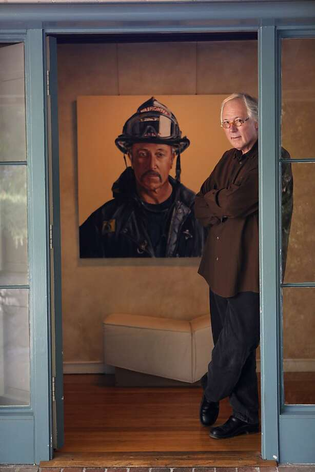 Michael Cronan stands in his Berkeley home in 2009, next to a painting he did after the Sept. 11, 2001, terrorist attacks. Photo: Michael Macor, The Chronicle