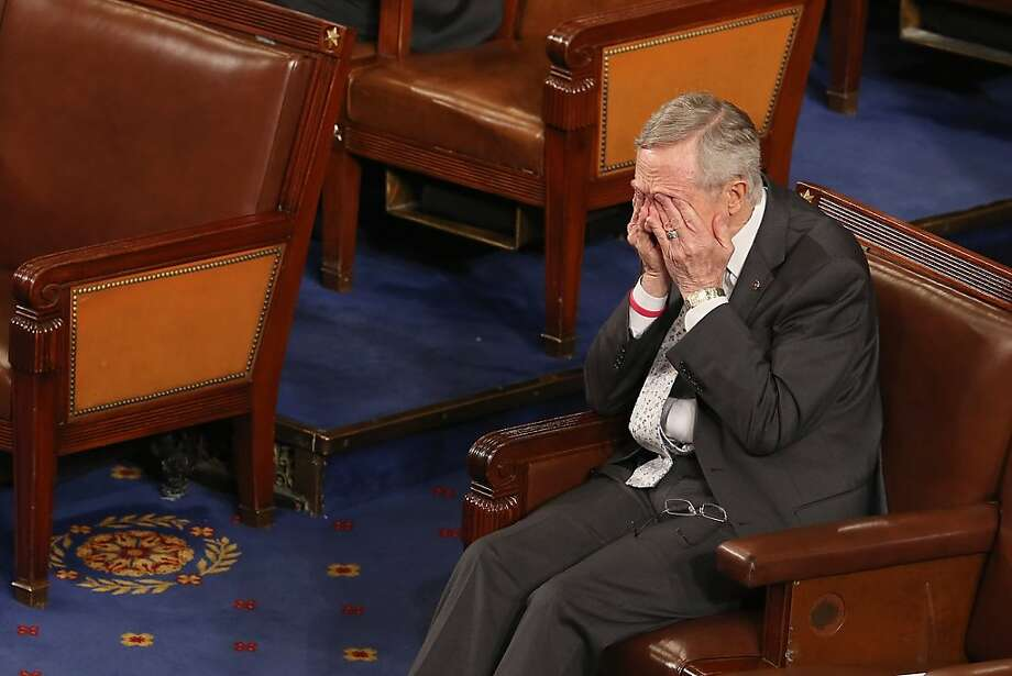 Senate Majority Leader Harry Reid (D-NV) rubs his eyes during the counting of the Electoral College votes from the 50 states in the House of Representatives chamber at the U.S. Captiol January 4, 2013 in Washington, DC. The votes were tallied during a joint session of the 113th Congress. President Barack Obama and Vice President Joe Biden received 332 votes to be reelected.  Photo: Chip Somodevilla, Getty Images