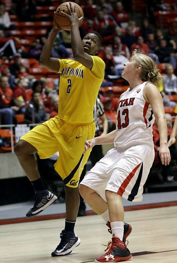 Cal's Afure Jemerigbe had 13 points, including 11 in the first half, as the Bears beat Rachel Messer (right) and Utah. Photo: Rick Bowmer, Associated Press