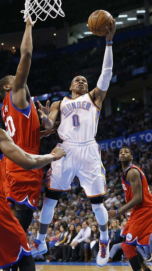 Oklahoma City's Russell Westbrook scored 27 points  as the Thunder bounced back from a rare home loss. Photo: Sue Ogrocki, Associated Press