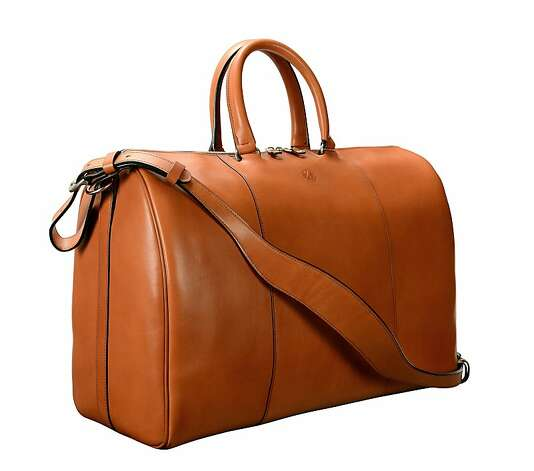 "Hand-burnished, chestnut Duffel Bag by Glaser Designs; 17 x 12 x 9"".8 Photo: Glaser Designs"