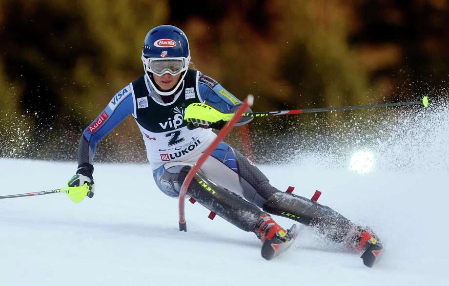 Mikaela Shiffrin, of the United States, clears a gate during the first run of an alpine ski, women's World Cup slalom, in Zagreb, Croatia, Friday, Jan. 4, 2013. (AP Photo/Darko Bandic) Photo: Darko Bandic / AP