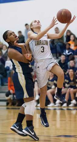 Lauralton Hall guard Maggie Salandra goes up for a basket in a high school girls basketball game against Notre Dame-Fairfield played at Lauralton Hall, Milford CT on Friday January 4th, 2013. Photo: Mark Conrad / Connecticut Post Freelance