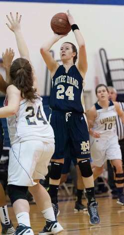 Notre Dame-Fairfield's Aly Furgiuele takes a jumpshot in a high school girls basketball game against  Lauralton Hall played at Lauralton Hall, Milford CT on Friday January 4th, 2013. Photo: Mark Conrad / Connecticut Post Freelance