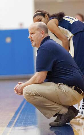Notre Dame-Fairfield high school girls basketball head coach Eric DeMarco during a game against Lauralton Hall played at Lauralton Hall, Milford CT on Friday January 4th, 2013. Photo: Mark Conrad / Connecticut Post Freelance