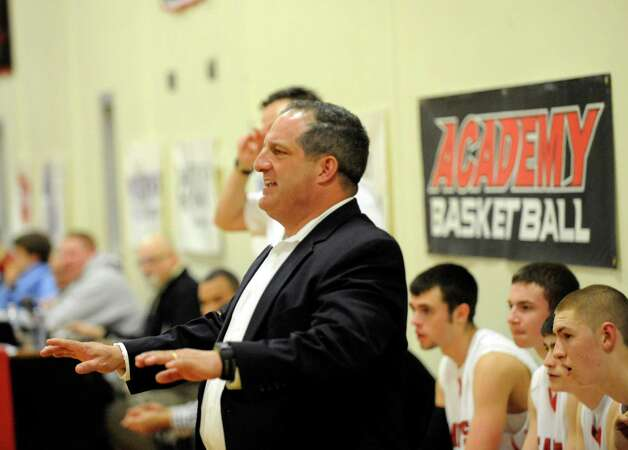 Albany Academy's head coach Brian Fruscio coaches his team against Collegiate School during their High School Basketball game in Albany, N.Y., Friday, Jan. 4, 2013. (Hans Pennink / Special to the Times Union) High School Sports Photo: Hans Pennink / Hans Pennink