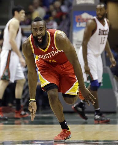James Harden reacts after his three-point basket. Photo: Jeffrey Phelps, Associated Press / FR59249 AP