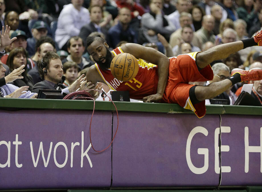 James Harden tries to save an out-of-bounds ball. Photo: JEFFREY PHELPS, Associated Press / FR59249 AP