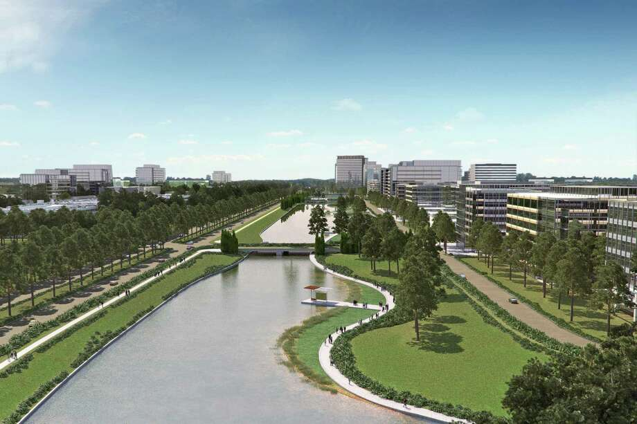A conceptual rendering of Generation Park shows the Lake District, a future phase that consists of several large sites within 1,000 acres along the 1½-mile long Generation Park Lake.   Photo: Courtesy Rendering