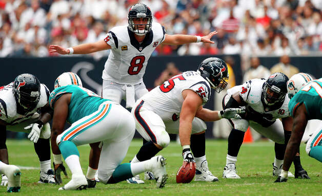 Sept. 9Texans 30, Dolphins 10 (1-0)After a poor start, the Texans exploded for 24 second-quarter points on a pair of Arian Foster touchdown runs and Matt Schaub's scoring pass to Andre Johnson to ruin the NFL debut of Ryan Tannehill, the Dolphins' first-round draft choice out of Texas A&M. Photo: Brett Coomer, Houston Chronicle / © 2012  Houston Chronicle