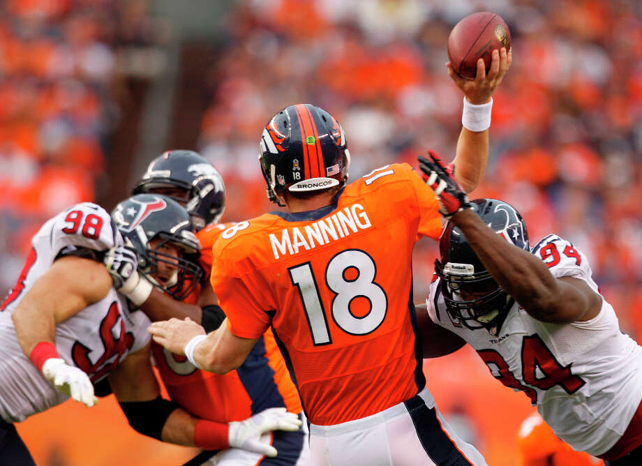 Sept. 23Texans 31, Broncos 25 (3-0)In their 10th try, the Texans finally beat Peyton Manning on his home field to get off to a first-ever 3-0 start, but Manning nearly erased a 20-point deficit through three quarters, throwing a pair of late touchdown passes before running out of time. Photo: Brett Coomer, Houston Chronicle / © 2012  Houston Chronicle