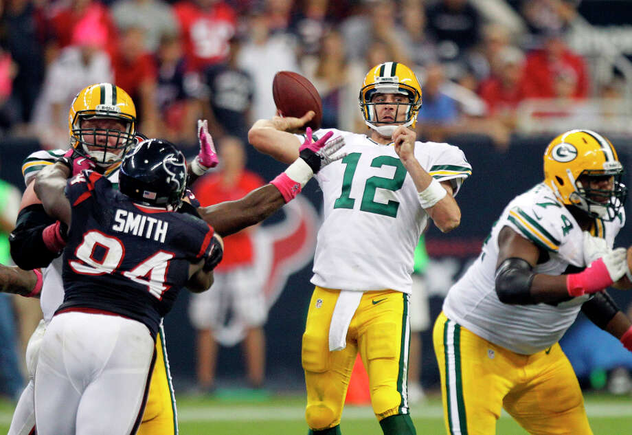 Oct. 14Packers 42, Texans 24 (5-1)Dreams of an unbeaten season blew up in the Texans' faces as Aaron Rodgers came to Reliant Stadium and shredded Wade Phillips' defense with six touchdown passes, a third as many as they had given the entire previous season. Photo: Brett Coomer, Houston Chronicle / © 2012  Houston Chronicle