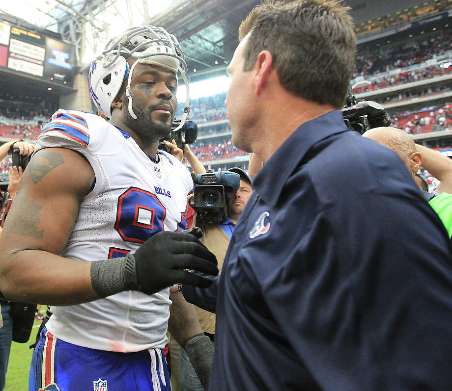 Nov. 4Texans 21, Bills 9 (7-1)Foster's 111 rushing yards and Schaub's two touchdown passes accompanied a stubborn defensive effort that kept the Bills from crossing the goal line and ruined Mario Williams' much anticipated return to Houston.  Photo: Karen Warren, Houston Chronicle / © 2012  Houston Chronicle
