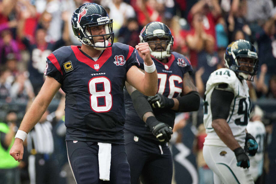 Nov. 18Texans 43, Jaguars 37 OT (9-1)Schaub threw for 527 yards — tying former Oiler Warren Moon for the second most in NFL history — and a career-high five touchdowns. The last was a walk-off strike to Johnson in overtime as the Texans staved off what would have been a huge upset by the Jaguars, who got four touchdown passes from backup QB Chad Henne. Photo: Smiley N. Pool, Houston Chronicle / © 2012  Houston Chronicle
