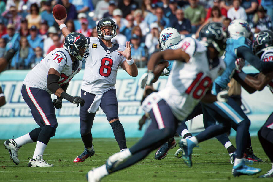 Dec. 2Texans 24, Titans 10 (11-1)Schaub's two first-half touchdown passes, including a 54-yarder to Lestar Jean in the first quarter, helped propel the Texans to a 21-3 halftime lead as they went on to sweep the Titans for the second season in a row.  Photo: Smiley N. Pool, Houston Chronicle / © 2012  Houston Chronicle
