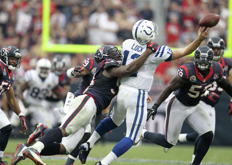 Dec. 16Texans 29, Colts 17 (12-2)Rookie Andrew Luck was given a rude welcome home as the Texans pulled themselves together after the debacle in Foxborough for a workmanlike victory built on five sacks by the defense plus 150-plus yard games from Foster (165 rushing) and Johnson (151 receiving). Photo: Karen Warren, Houston Chronicle / © 2012 Houston Chronicle