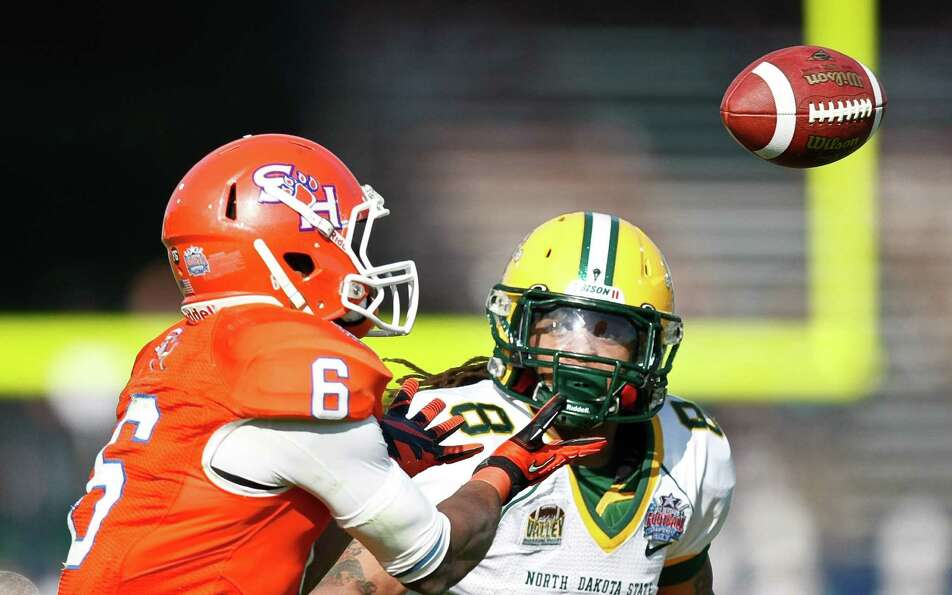 Sam Houston State wide receiver Richard Sincere (6) makes a first down catch as North Dakota State c