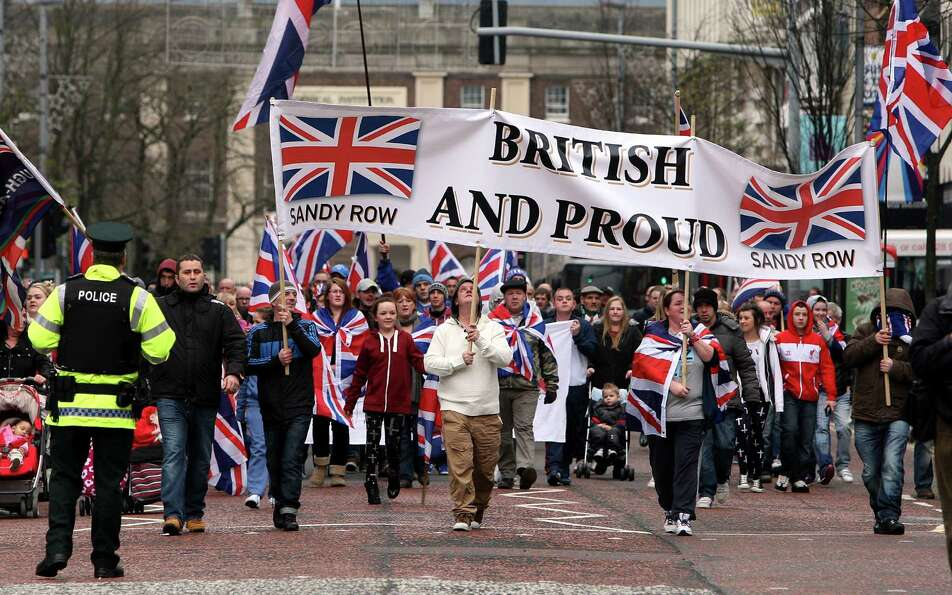 Protestant Loyalist protestors converge on Belfast city hall Saturday Jan.  5, 2013. Ongoing protest