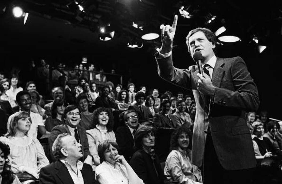 1982: David Letterman, warms up his NBC studio audience prior to the taping of his popular television show at Rockefeller Center. Getty Images