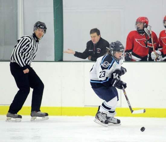 Amanda D'Arbanville # 23 of Wilton in action during the girls high school ice hockey game between Wilton High School and Greenwich High School at the SoNo Ice House in Norwalk, Saturday, Jan. 5, 2013. Greenwich won the game, 4-3. Photo: Bob Luckey / Greenwich Time