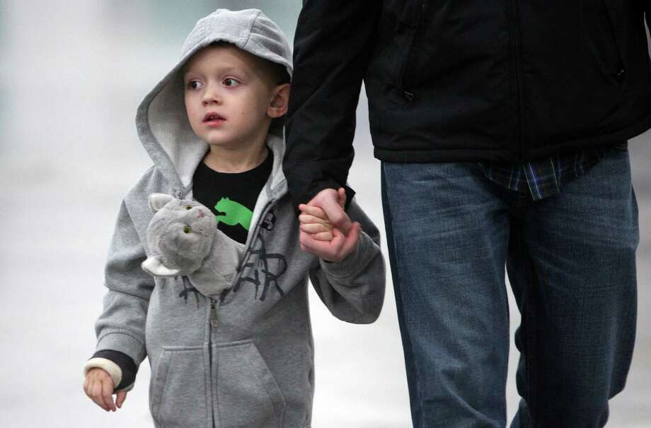 Connor Schutz, 4, walks with his stuffed animal cat in his sweater while viewing live cats in the Houston Cat Club 60th Annual Charity Cat Show at George R. Brown Convention Center on Saturday, Jan. 5, 2013, in Houston. Photo: Mayra Beltran, Houston Chronicle / © 2012 Houston Chronicle