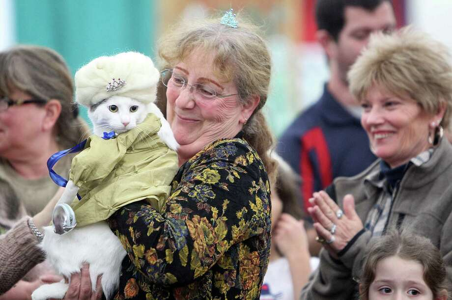 Suzanne Correira carries 'Pasha Blue', a mixed Japanese Bobtail cat and the winner of the cat costume contest during the Houston Cat Club 60th Annual Charity Cat Show at George R. Brown Convention Center on Saturday, Jan. 5, 2013, in Houston. Photo: Mayra Beltran, Houston Chronicle / © 2012 Houston Chronicle