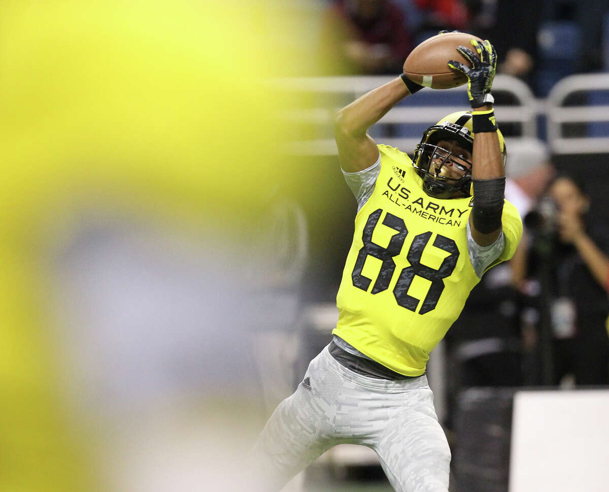 San Antonio Christian's Corey Robinson makes a catch during warm ups before the 2013 U.S. Army All-American Bowl at the Alamodome on Saturday, Jan. 5, 2013. The East Team defeated the West, 15-8.