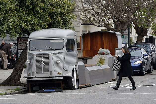 The new parklet at Filbert and Fillmore streets. Photo: Sean Havey, The Chronicle