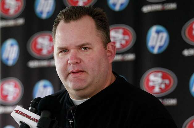 49ers assistant Greg Roman has ties with executives who might hire new head coaches. Photo: Jeff Chiu, ASSOCIATED PRESS