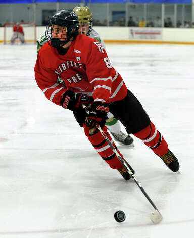 Fairfield Prep's #8 David White, during boys hockey action against Notre Dame of West Haven in West Haven, Conn. on Saturday January 5, 2013. Photo: Christian Abraham / Connecticut Post