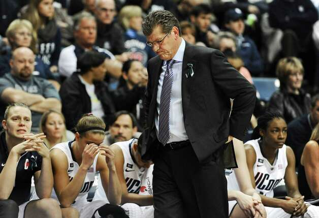 Connecticut head coach Geno Auriemma reacts during the second half of an NCAA college basketball game against Notre Dame in Storrs, Conn., Saturday, Jan. 5, 2013. Notre Dame won 73-72. (AP Photo/Jessica Hill) Photo: Jessica Hill, Associated Press / FR125654 AP
