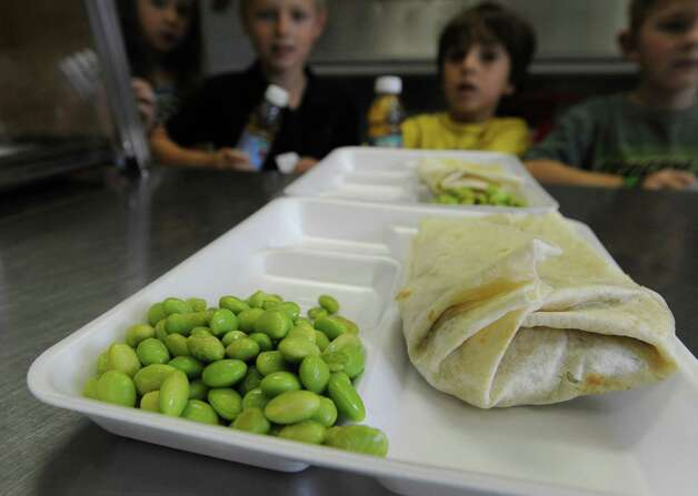 Edamame beans and a burrito are on the menu at the North Street School cafeteria in Greenwich, Friday, Sept. 28, 2012. Photo: Bob Luckey / Greenwich Time