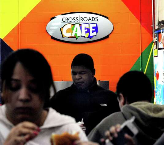 The cafeteria at Danbury High School is named Crossroads Cafe. Photographed Thursday, Oct. 11, 2012. Photo: Michael Duffy / The News-Times