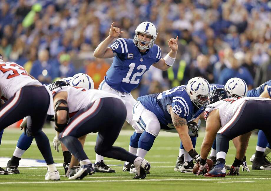 Indianapolis Colts' Andrew Luck (12) calls a play during the first half of an NFL football game against the Houston Texans Sunday, Dec. 30, 2012, in Indianapolis. (AP Photo/Michael Conroy) Photo: Michael Conroy, Associated Press / AP