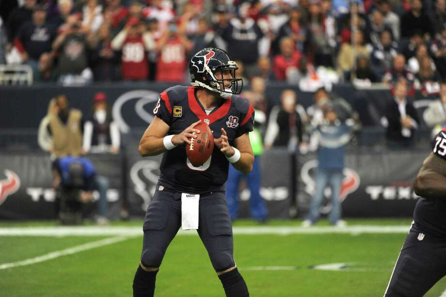 Houston Texans Matt Schaub sets to pass during the first quarter of an NFL wild card playoff football game against the Cincinnati Bengals, Saturday, Jan. 5, 2013, in Houston. (AP Photo/Dave Einsel) Photo: Dave Einsel, Associated Press / AP