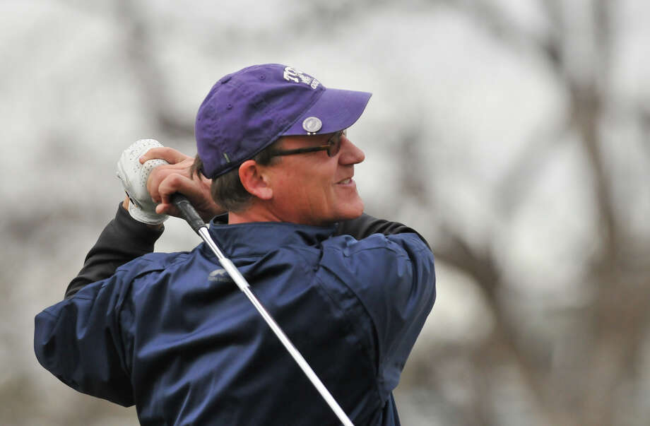 Bobby Baugh watches his tee shot on the 17th hole during the Greater San Antonio Tournament of Champions at Brackenridge Golf Course Saturday. Photo: Robin Jerstad, Express-News