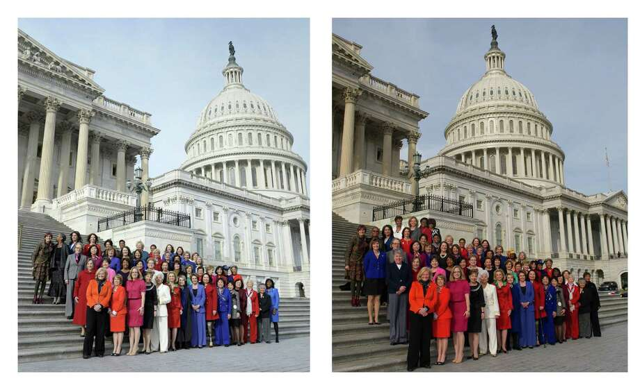 The image at left is an Associated Press photo of House Minority Leader Nancy Pelosi and female House members taken Thursday on Capitol Hill in Washington. At right is a screen grab from Pelosi's Flickr page of an altered photo. That photo adds Rep. Sheila Jackson Lee, D-Houston, in red, and three others on the top row. Photo: FRE / File / HOPD