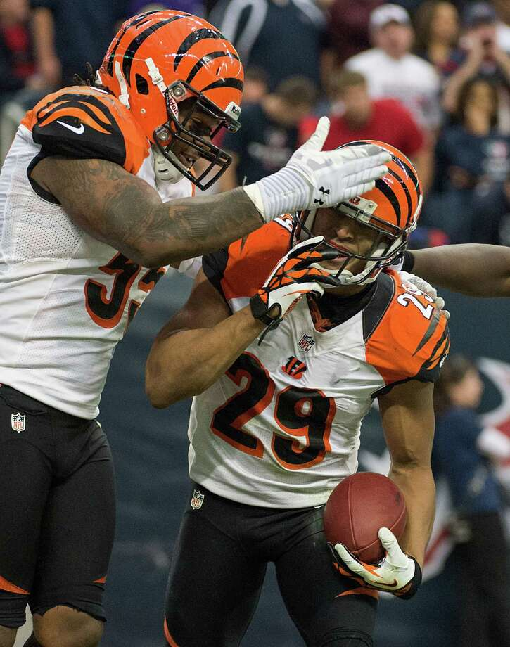 Bengals cornerback Leon Hall (29) celebrates after returning an interception