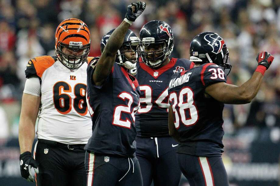 Texans secondary celebrates during the fourth quarter. Photo: Karen Warren, Houston Chronicle / © 2012 Houston Chronicle