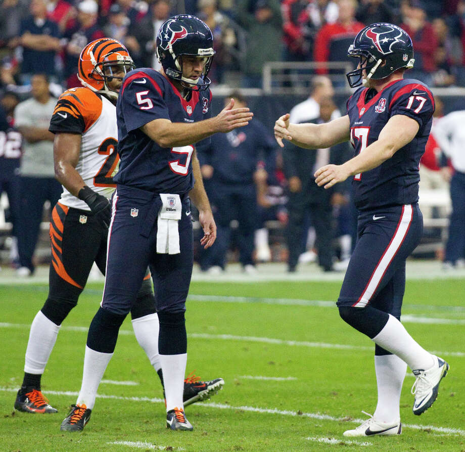 Houston Texans kicker Shayne Graham (17) celebrates his 48-yard field goal with holder Donnie Jones (5) during the first quarter against the Cincinnati Bengals in an AFC playoff game at Reliant Stadium on Saturday, Jan. 5, 2013, in Houston. Photo: Brett Coomer, Houston Chronicle / © 2013  Houston Chronicle