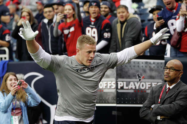 Texans defensive end J.J. Watt  greets the crowd after warming up Photo: Karen Warren, Houston Chronicle / © 2012 Houston Chronicle
