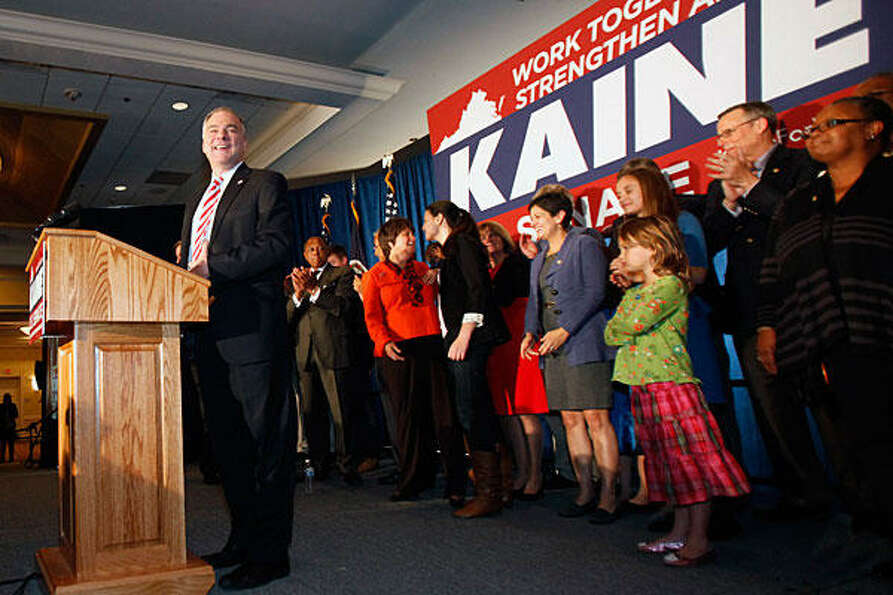 Tim Kaine, Democratic candidate for senator, gives his victory speech in Richmond, Va., Tuesday. (Bo