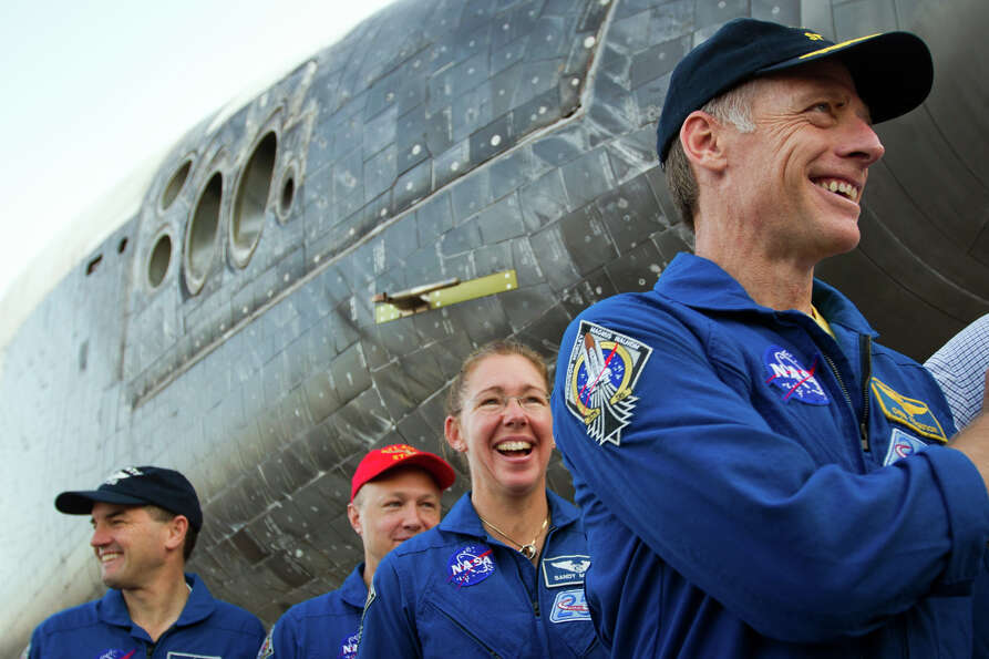 July 21, 2011 | The crew of STS-135, from right, Chris Ferguson, Sandy Magnus, Doug Hurley and Rex W