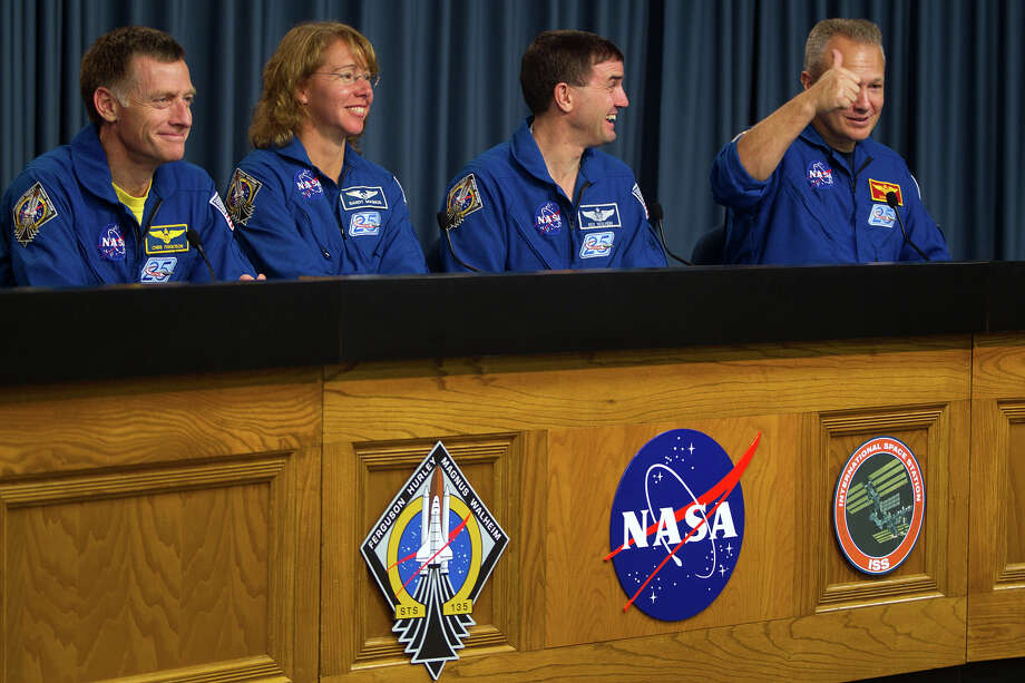 July 21, 2011 | The crew participates in their post flight news conference after the space shuttle Atlantis landed at the Kennedy Space Center. Photo: Smiley N. Pool, Houston Chronicle / © 2011  Houston Chronicle