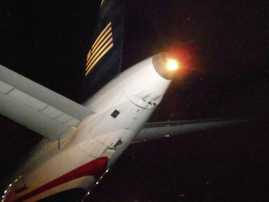 A photo provided by the Broward County Aviation Department shows damage to the tail section of a U.S. Airways Airbus A-320 after a taxiing Spirit Airlines Airbus A-320 clipped the parked plane at Fort Lauderdale-Hollywood International Airport on Monday night. Authorities say the US Airways aircraft was left with a gash in its tail section. Spirit spokeswoman Misty Pinson says a flight from Atlanta was taxiing to its gate when its left wing clipped the parked plane. Pinson says all 162 passengers on board got off at the gate as normal, and the plane returned to service. Photo: AP