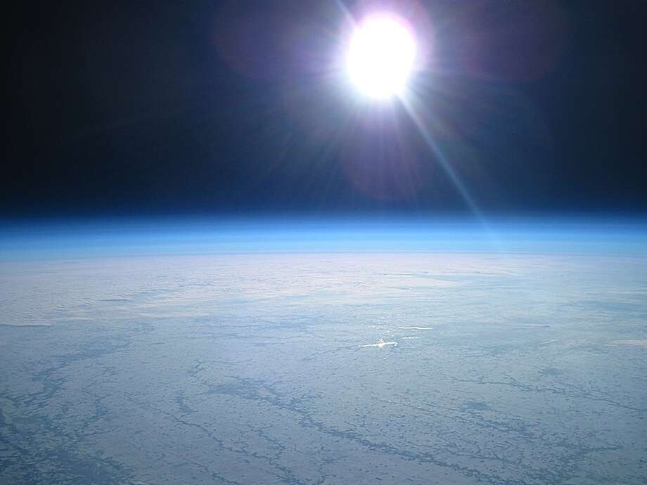 This photo provided by John Flaig via The Kokomo Tribune last Sunday shows an image taken from a high altitude weather balloon during a 4 and a half hour 178 mile flight between Mendota, Ill., and Lincoln, Ind. Flaig, a 38-year-old computer programmer from Milwaukee, Wis., launched the balloon at around 6 a.m. on a frigidly cold Sunday from a public park in Mendota, Ill. He said he first got interested in near-space photography after watching videos of similar weather-balloon launches on YouTube. Photo: AP