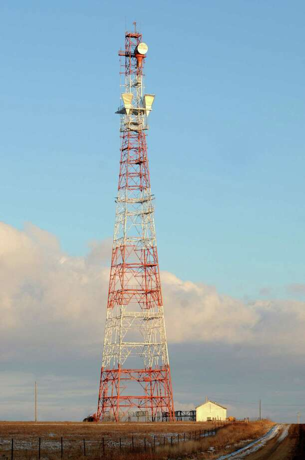 This photo taken Thursday shows the 393-foot communication tower  in a rural area east of Matfield Green, Kan. that BASE jumper Frank Hubbell, of Tecumseh, jumped from on Saturday before falling to his death when his parachute failed to open in time. His funeral was Saturday. Photo: AP