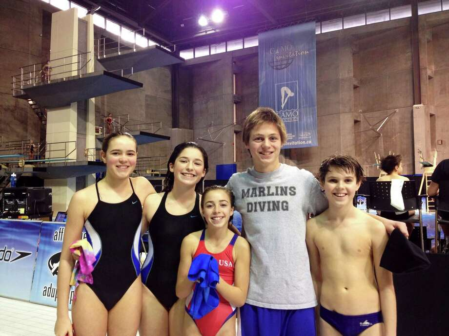 Among the members of the Greenwich Marlins Diving team who participated in the 15th Annual International CAMO invitational, held at the Claude-Robillard Sports Centre in Montreal, Quebec, were Elizabeth Uhl, Shannon Daine, Carolina Sculti, Lee Christensen and James Hopper. Photo: Contributed Photo